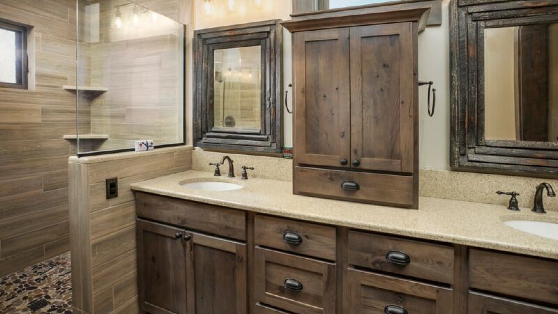 Contemporary bathroom wood tiles