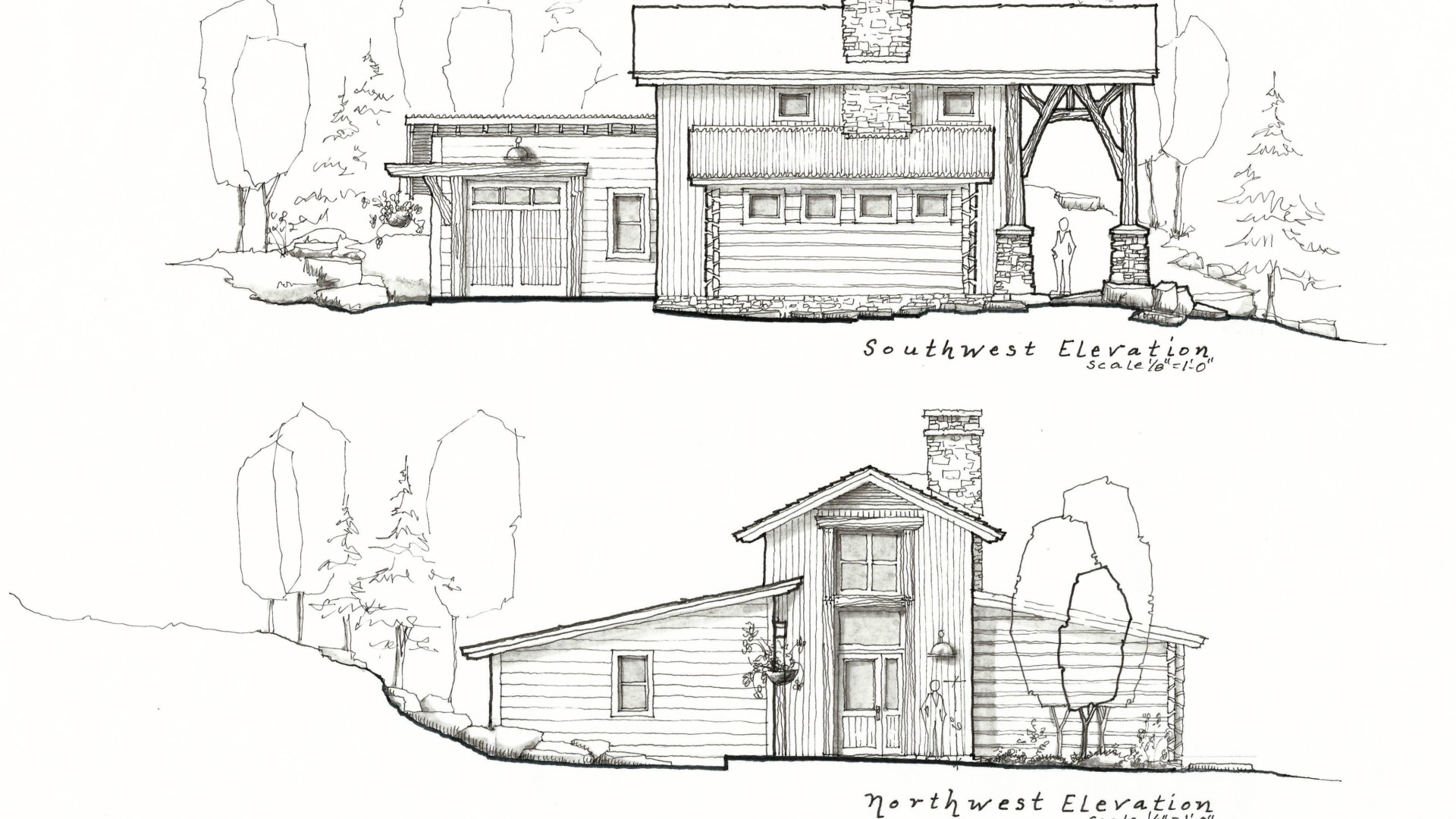 exterior blueprint of a house next to a hill