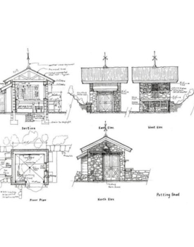 architectural sketch of a small stone shed for making pots
