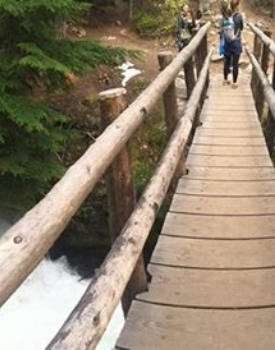 wooden bridge across a large, moving creek