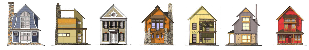 front view color sketches of a variety of different home styles
